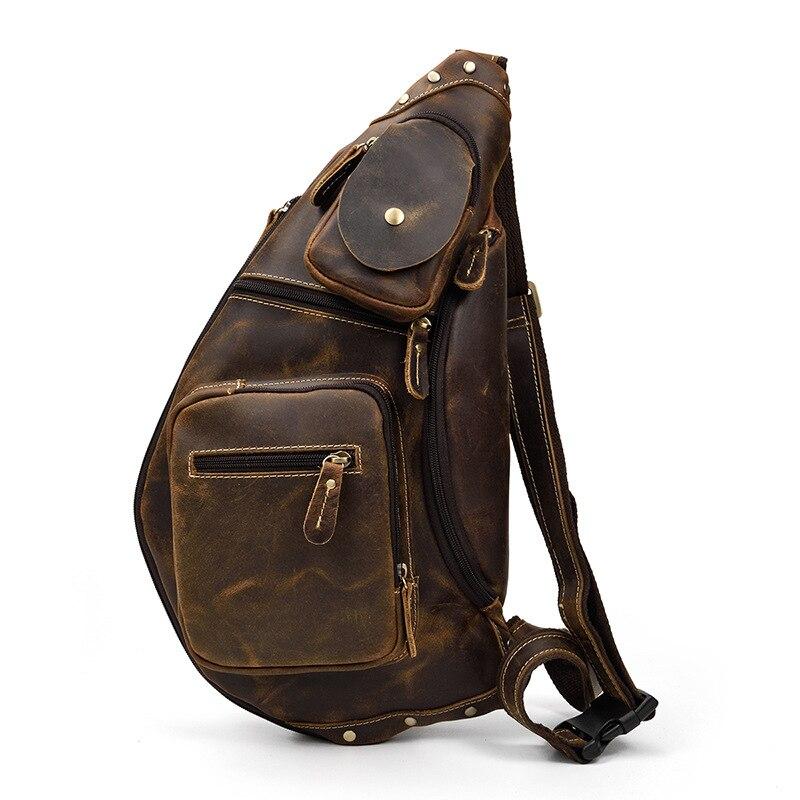MAHEU-حقيبة ظهر من جلد البقر ، حقيبة كتف واحدة ، حقيبة صدر من جلد البقر الأصلي للسفر والمشي في الهواء الطلق