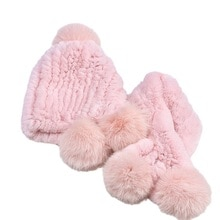 Real Rex Rabbit Fur Hat and Scarf Child Girls Boys Knitted Warm Winter Fluffy Caps and Neck Warmer