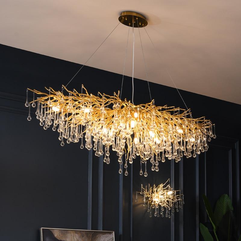 Modern Crystal Chandelier Luxury Golden Branch Crystal Chandelier Living Room Hotel Lobby Island Decoration Light