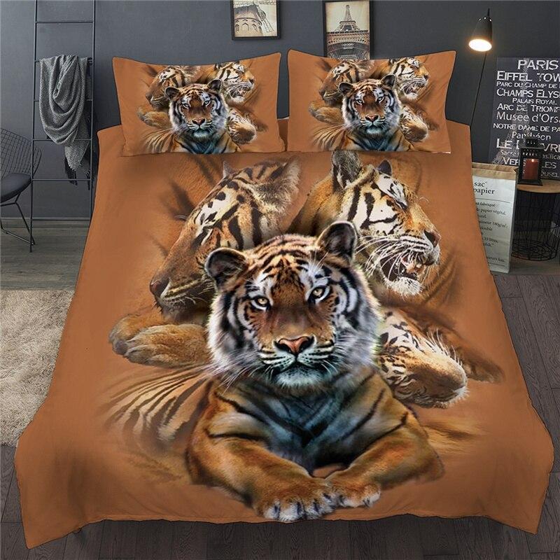 Набор постельного белья с 3D принтом животных тигра, двуспальная королева, Королевский размер, набор пододеяльников, две односпальные крова...