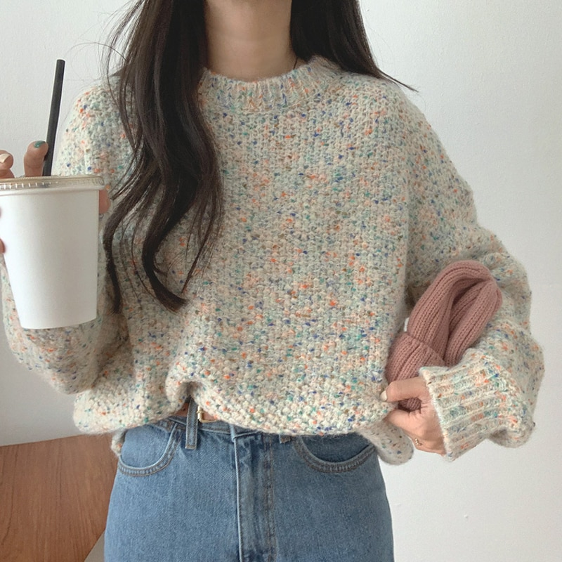 Korean Ins Vigorous Girl Cute Youth-Looking Small Colored Dots Mixed Idle Style Wool Blended Pullove