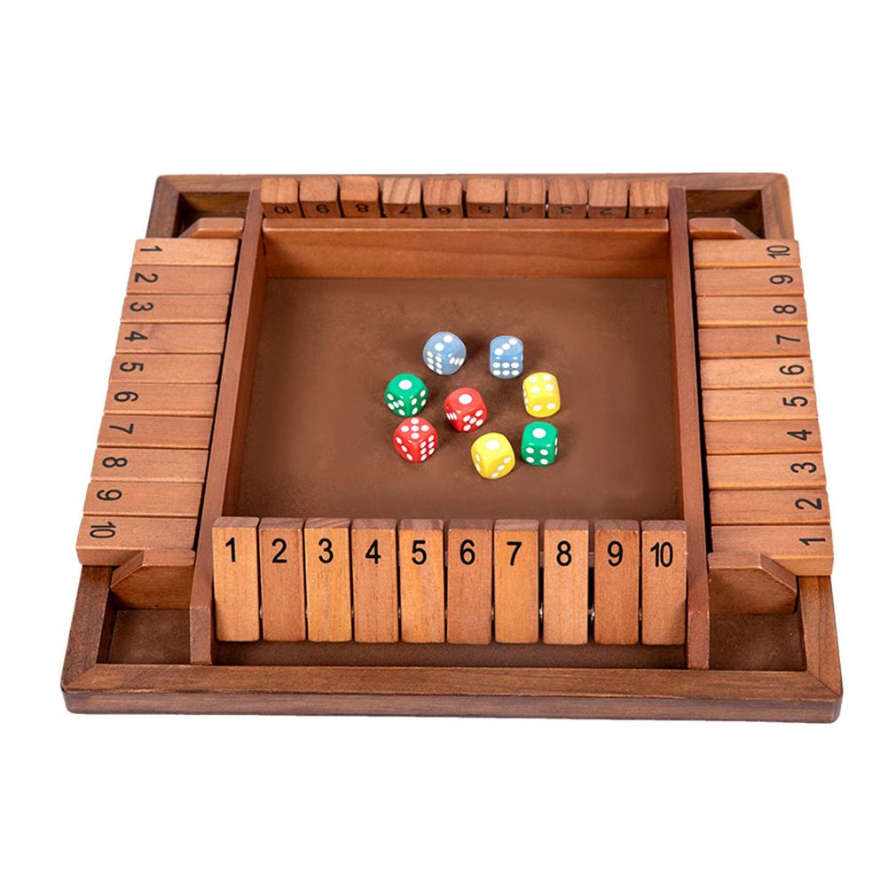 Shut The Box Tabletop Game Wooden Dice Board Game For 2-4 Players Shut The Box Board Game Set Dice Party Club Drinking Games large mahjong portable wooden boxes set table game mah jong travelling board game indoor antique leather box english manual
