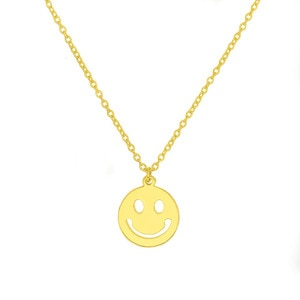 Selling simple fashion jewelry in Europe and the United States happy smile smiling face necklace friend gift