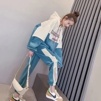 track suit sportswear plus size spring and autumn new leisure sports suit womens hooded sweater casual pants two piece suit