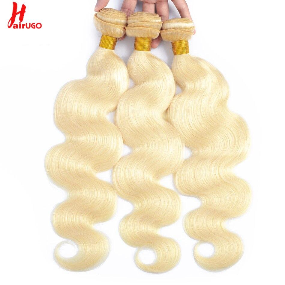 HairUGo Brazilian 613 Bundle Remy Hair Extensions 1/3/4 Brazilian Human Hair Bundles Weave Body Wave Blonde Bundle Free Shipping