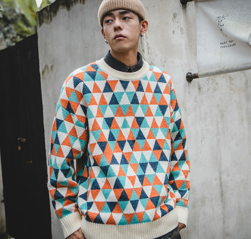 Men's Sweaters Pullovers Japanese Rhombus Patterns Homemade INS Wind Loose Round Neck Trendy Brand Tops Male Couples Clothing