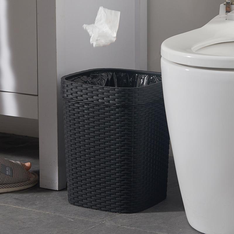 Black Large Trash Bin Plastic Modern Kitchen Bedroom Toilet Bin Living Room Trash Can Creative Home Poubelles Waste Bin DJ60LT enlarge