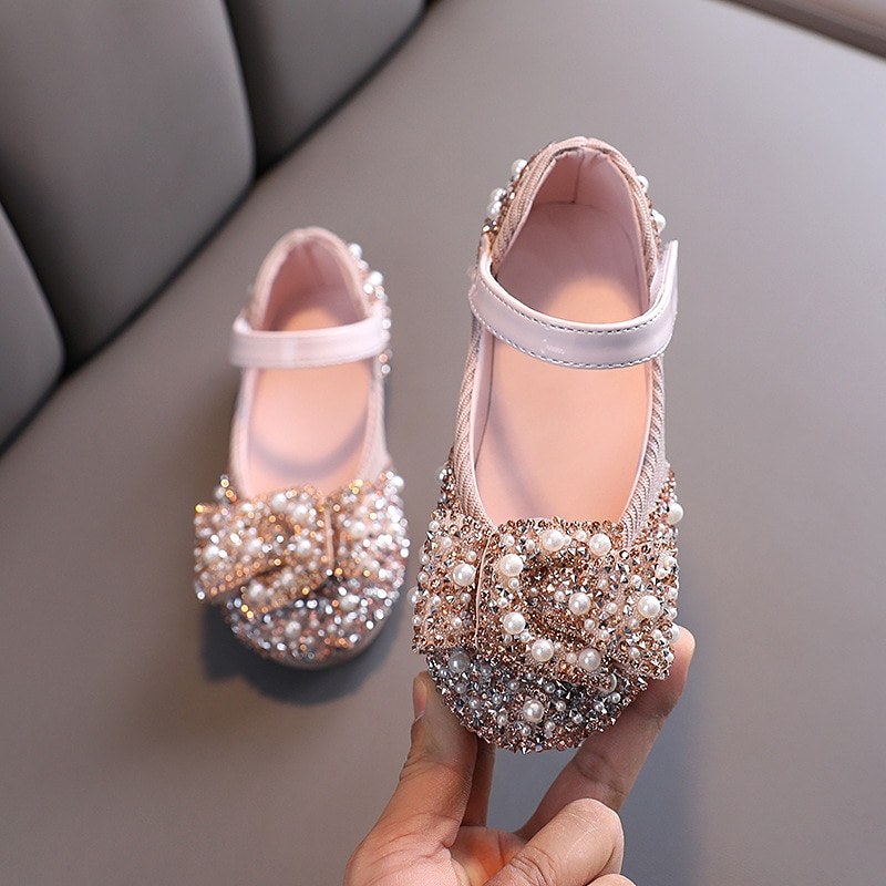 2020 New Childrens Shoes Pearl Rhinestones Shining Kids Princess Shoes Baby Girls Shoes For Party and Wedding D487