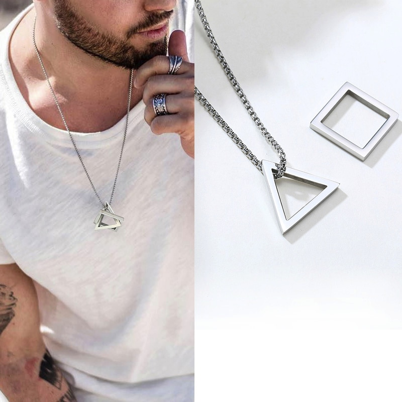 aliexpress - POPULAR INTERLOCKING SQUARE TRIANGLE MALE PENDANT FOR MEN STAINLESS STEEL MODERN TRENDY GEOMETRIC STACKING STREETWEAR NECKLACE