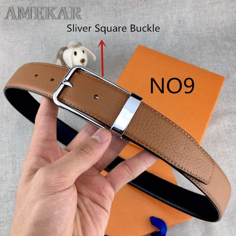Leather Men's Belt Women Casual Needle Buckle Belts Width 3.4Cm Highly Quality Waistband Black Busin