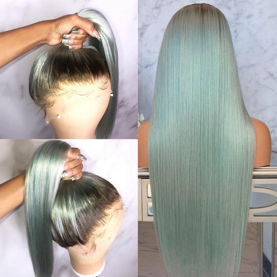 Alta Cola de Caballo T4/Verde Ombre pelucas de encaje completo para mujeres brasileñas transparentes Lace frontal pelucas de cabello humano con nudos blanqueados