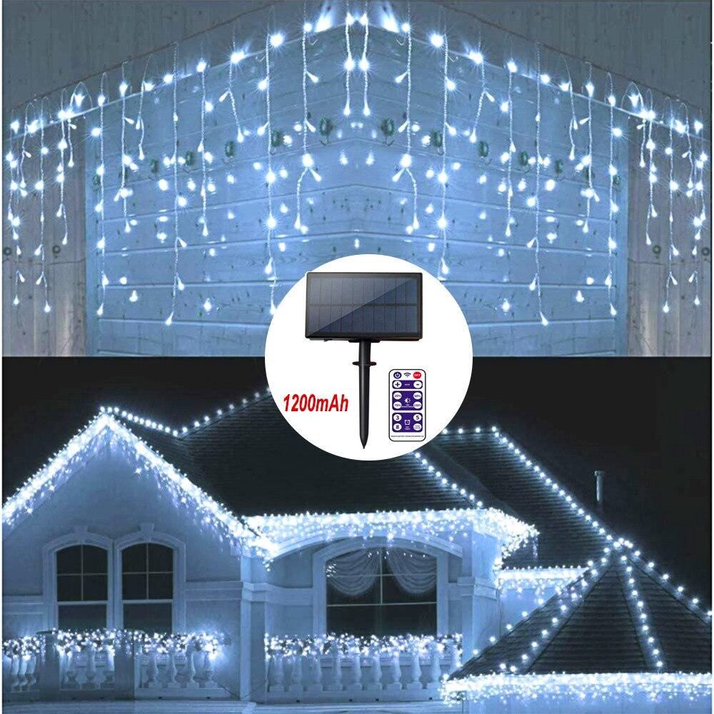 ستارة إضاءة خارجية تعمل بالطاقة الشمسية مقاومة للماء مع جهاز تحكم عن بعد ، جليد ، إضاءة زخرفية ، مثالية لحفلات الزفاف ، والحفلات ، والكريسماس...