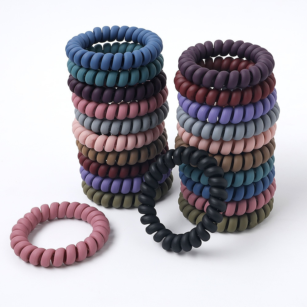 Wholesale 11pcs/lot Women Hair Rope Elastic Hair Spiral Hairbands Silicone Hair Ties Accessories Telephone Wire Line For Hair