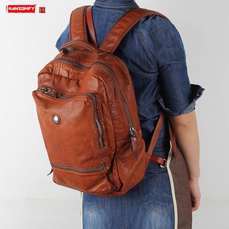 2020 New Handmade Leather Womens Backpack Female Shoulder Bag Casual Retro Ladies Big Bags Travel Backpacks Top Layer Cowhide