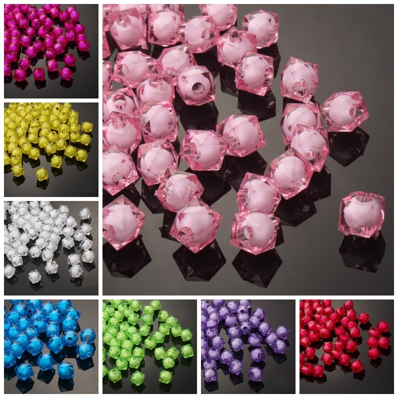 8mm 100pcs Transparent Square Acrylic Faceted Bead In A Bead Beads Jewellery Children Diy Toys Beads