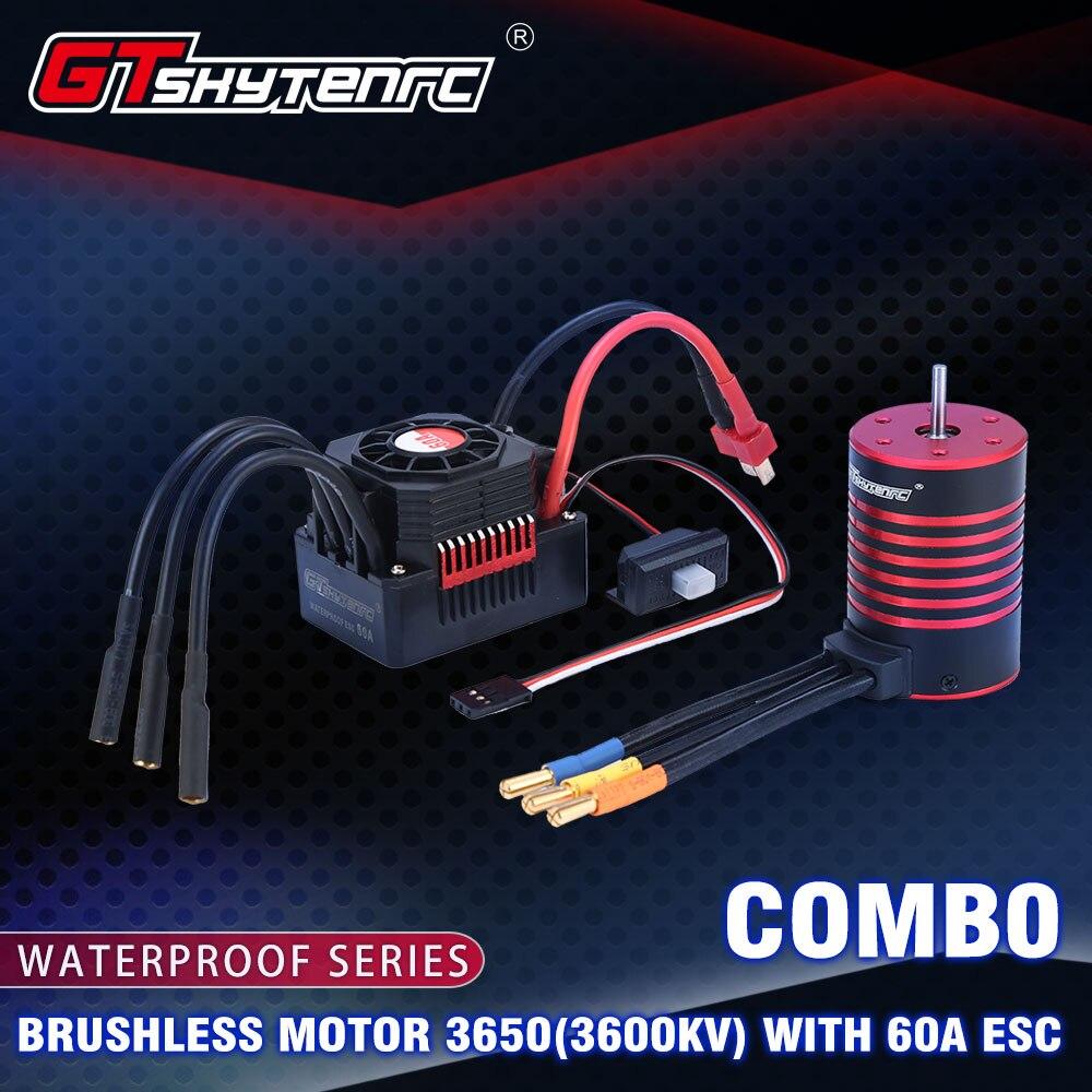 GTSKYTENRC Wasserdichte Combo 3650 3600KV 5200KV Bürstenlosen Motor w//Kühlkörper 60A Bürstenlosen ESC für RC 1/10 RC Auto