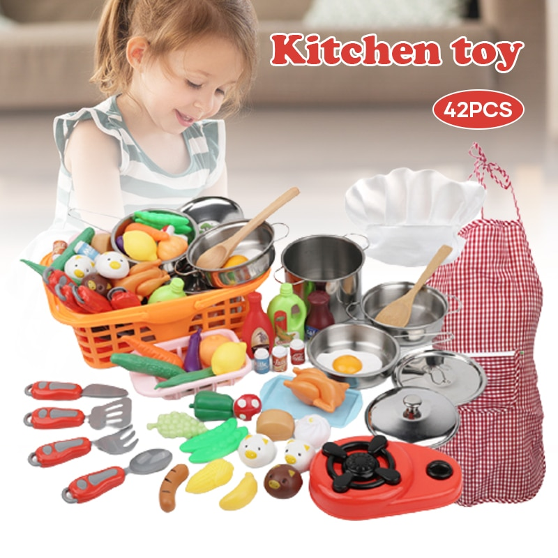 Newly 42pcs Kitchen Cooking Set Girls Boys Vegetable Playset Toy for Kids Early Age Development Educational Pretend Play TE889