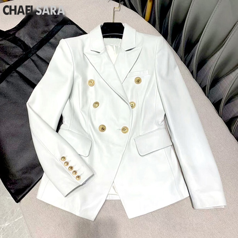 New  PU Faux Leather Jacket Women Classic Double Breasted Office Lady Jacket Spring Autumn Lady Basic Coat Plus Size Outerwear enlarge