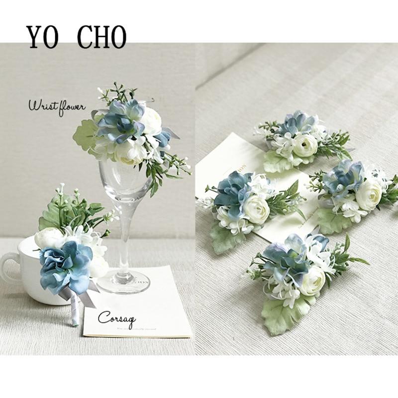 Ramo azul blanco ojal Rosa ramillete de boda y broche de seda brazalete con ramillete flores flor alfiler para solapa pulsera
