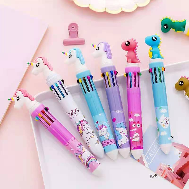 Excited cartoons flamingo unicorn dinosaur 10-color ballpoint pen beautiful press pens ball pens school office office writing ma south korean fresh and lovely broken beautiful small office marker pen 10 color gel pens kit