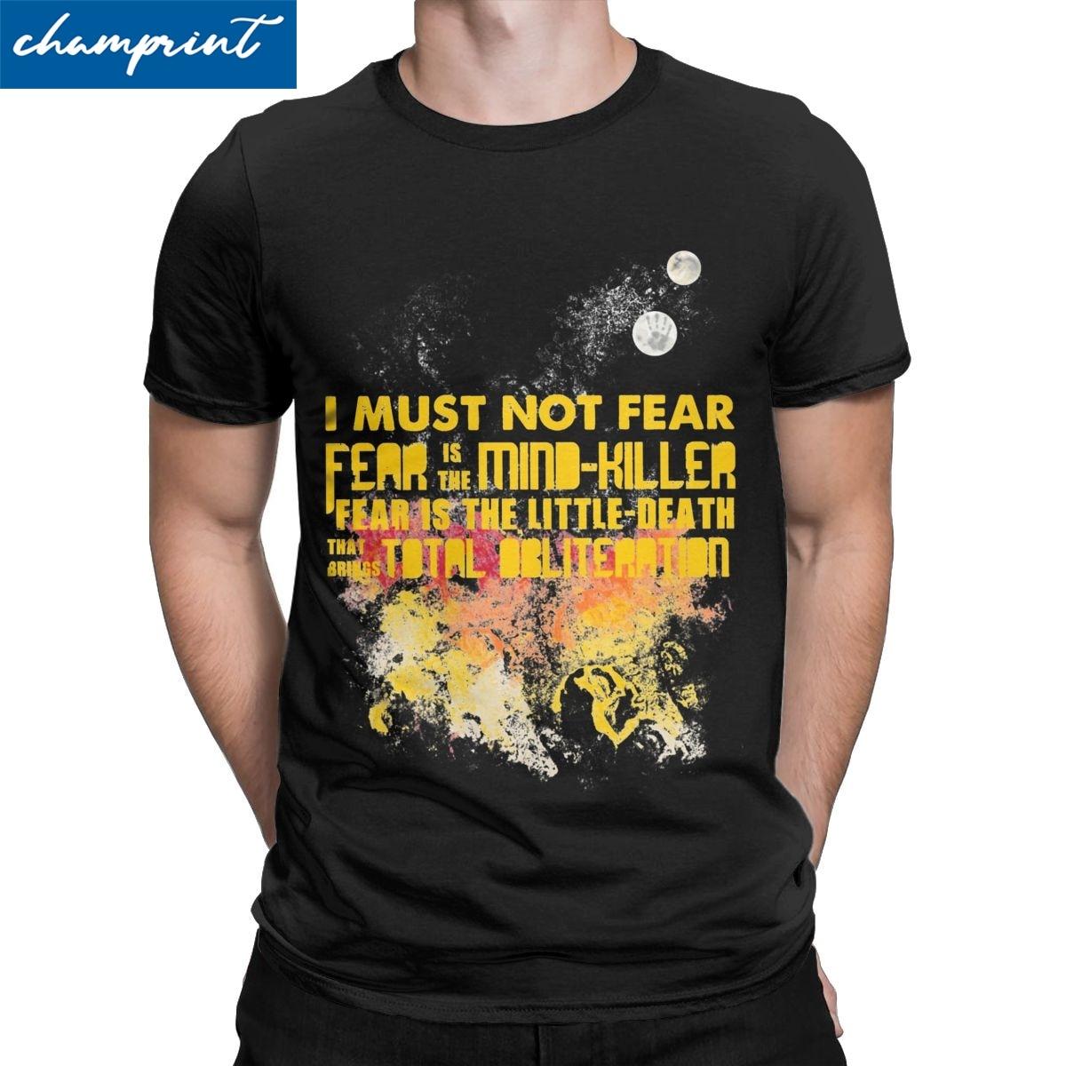 Camisetas Litany Against Fear para hombre, camisetas para ocio de ciencia ficción de Dune Herman Arrakis, camisetas con cuello redondo impresas
