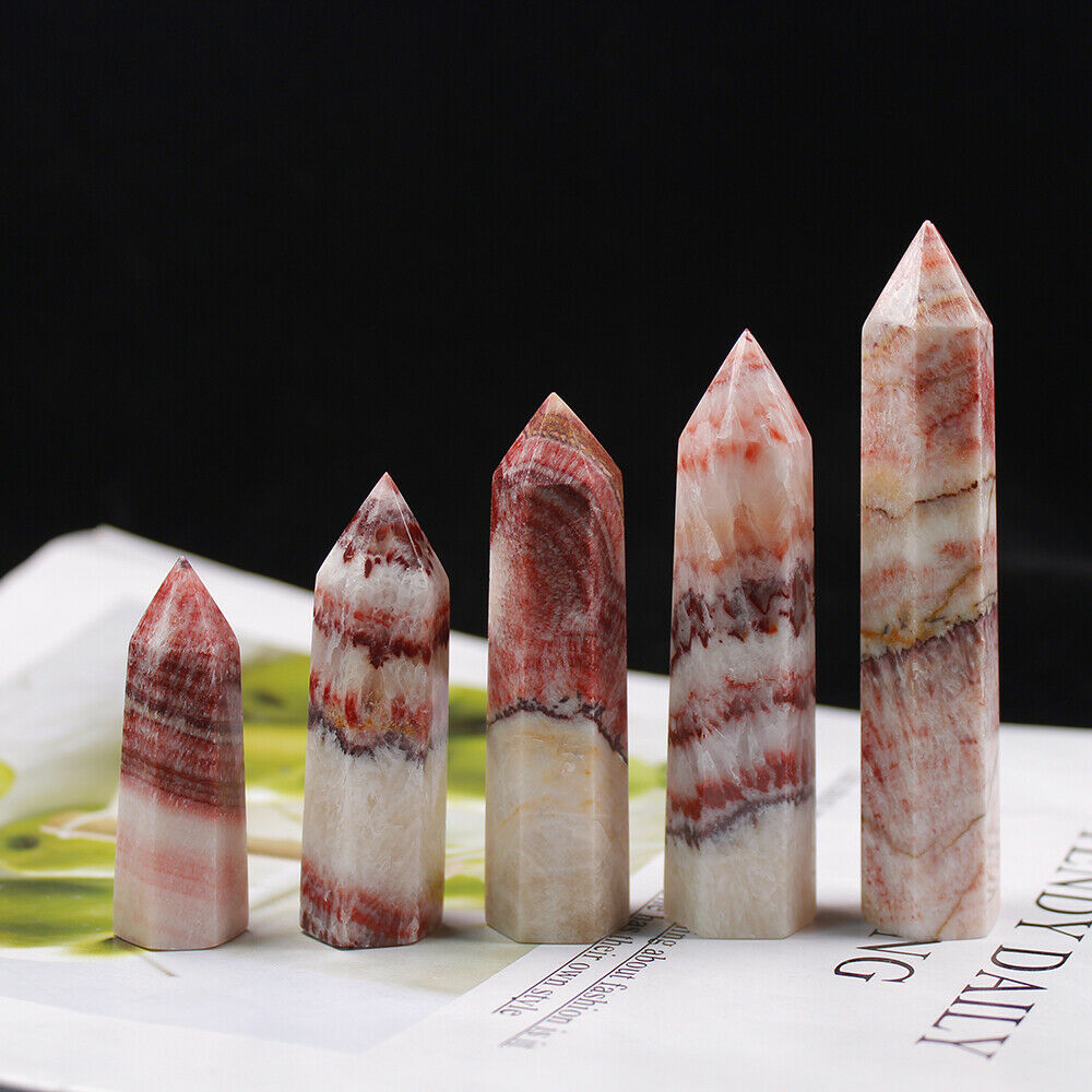 1PC Natural Rhodochrosite Crystal Point Healing Stone Quartz Crystal Wand Crafts Mineral for Home Decoration Ornaments DIY Gift