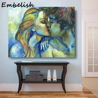 Toile de peintures a lhuile HD dun jeune Couple amoureux  doux baiser  pour decor de maison  images dart murales de salon  livraison gratuite