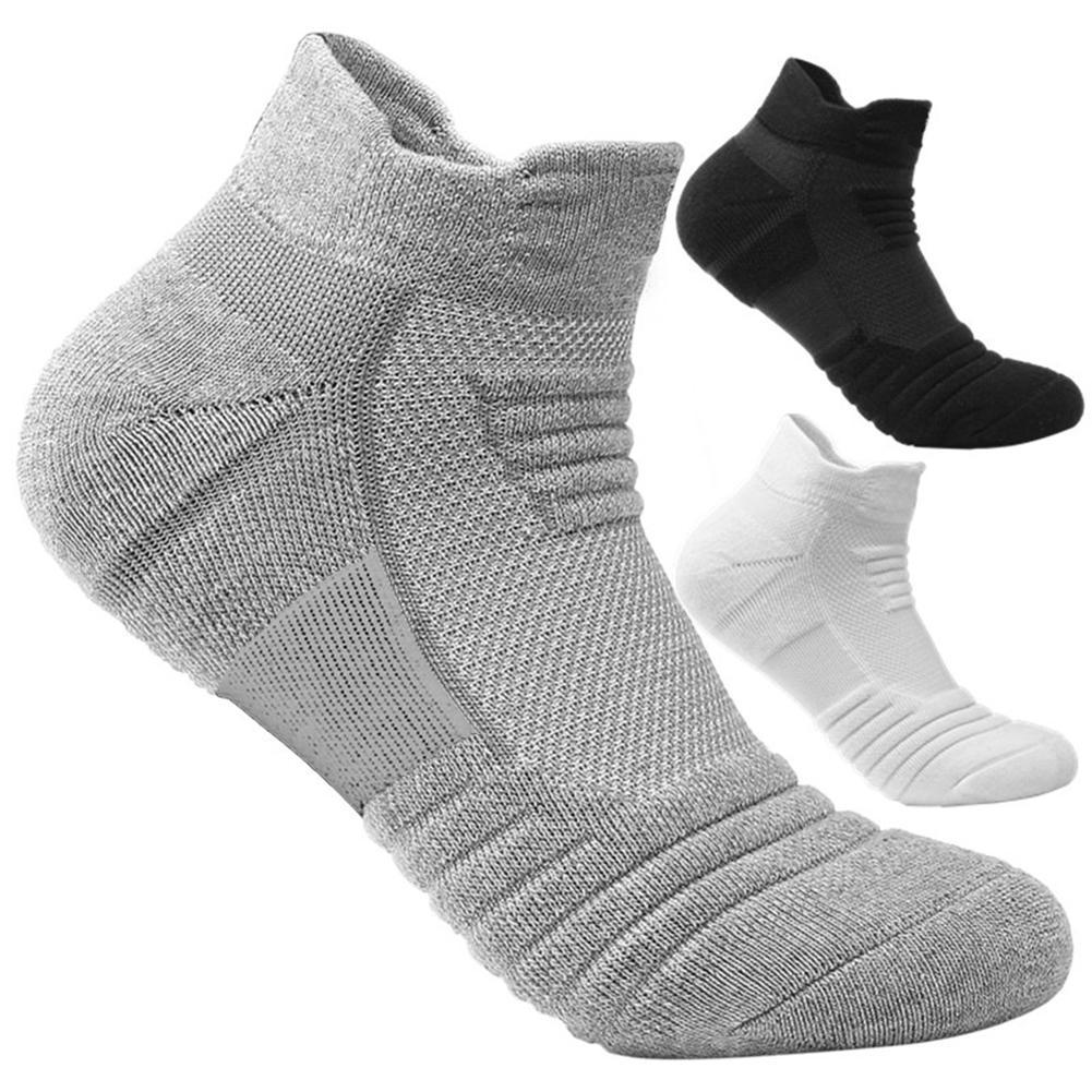 Мужские дышащие спортивные короткие носки, однотонные утепленные мужские носки для бега, футбола, баскетбола, эластичные спортивные носки