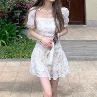 2021 summer elegant mini dress women casual one piece dress korean short sleeve vintage floral dress female evening party chic