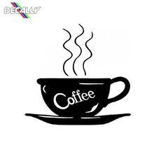 Calcomanía de taza de café para la pared del hogar, ventana, cafetería, tienda, Espresso, decoración de habitación, calcomanías de pared