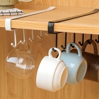 iron 6 hooks traceless nail free hooks for the kitchen on a chest save space universal hook kitchenware cup holder storage goods