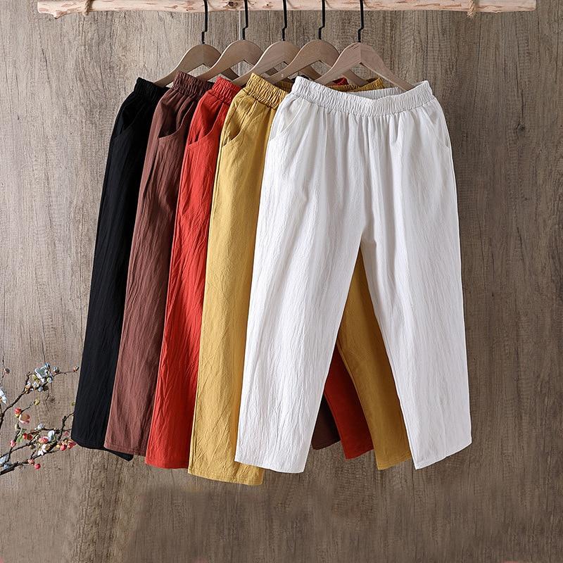 Spring Summer Cotton Linen Pants Large Size Women's Trousers Solid Casual Loose Linens Capri Pants F