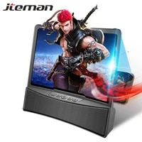 mobile phone screen magnifier with bluetooth stereo speaker 10 inch 3d hd video smartphone amplifier desk holder anti radiation
