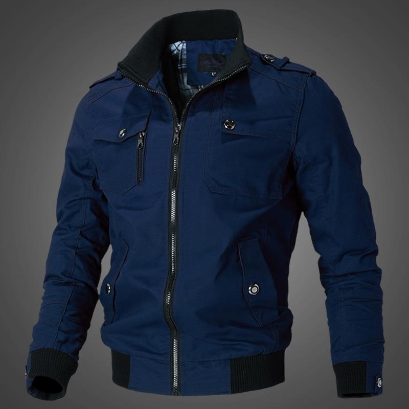 Мужская куртка в стиле милитари, осенняя куртка-карго, пальто, модная повседневная верхняя одежда, облегающее уличное зеленое пальто Бриджи...