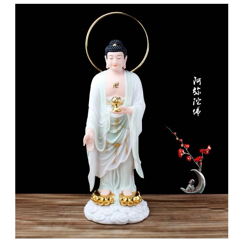 48CM grand bouddhisme figure jade déesse Guan yin dieu Avalokitesvara bouddha asie protection de la maison prospérité FENG SHUI statue