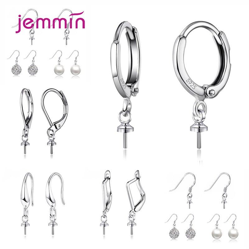 925 Brincos da Prata esterlina Conector para Loop Configurações Brincos Hoops Ear Jewelry Making Achados DIY Jóias Collocation