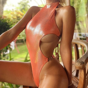 Snake Swimsuit One Piece Sexy High Cut Swimwear 2020 Women Shiny Chain Bodysuit One Piece Suits High Neck Swimsuit Female Bather