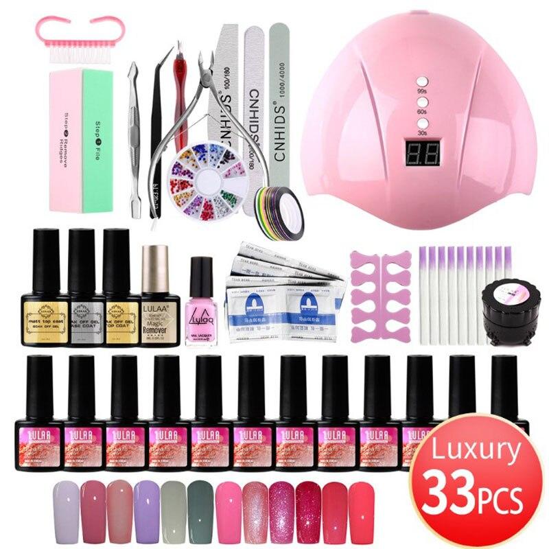Set de manicura 36W UV lámpara LED secadora con 12PCS Gel de esmalte de uñas Kit de remojo de manicura esmalte de uñas de Gel para uñas de arte