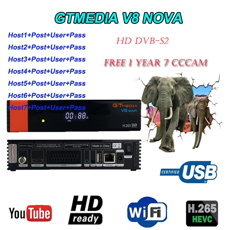 GTMEDIA V8 Nova receptor de satélite H.265 construido en WIFI tv dvb-s2 soporte android IPTV Youtube netflix satélite freesat v8 nove