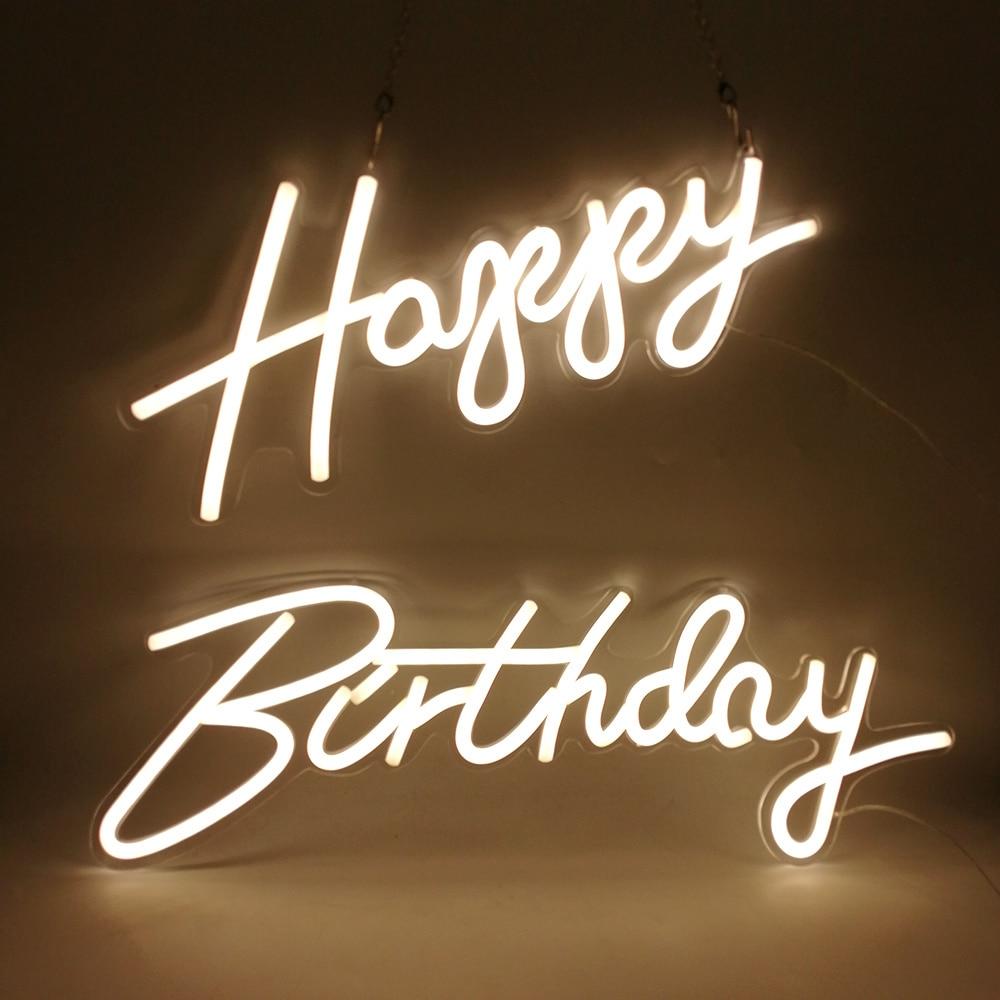 Custom Neon 22''x 16'' Happy Birthday Led Light Party Flex Transparent Acrylic Oh Baby Neon Light Sign Wedding Party Decoration