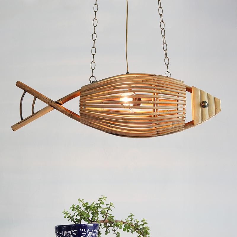 Novedosas luces colgantes en forma de pez, lámpara colgante de bambú para restaurante de campo americano, cafetería, decoración, lámpara de loft para jardín, iluminación