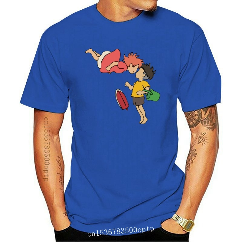 New Cute Cartoon Ponyo on the Cliff Tee shirt Harajuku Short Sleeve Cotton Plus Size T Shirt