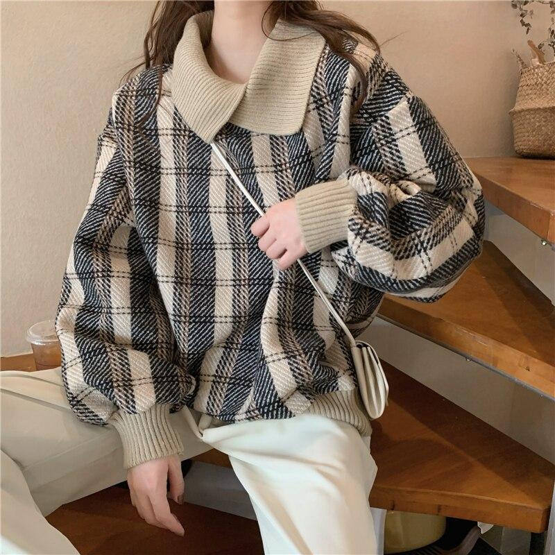 Толстовки женские клетчатые толстовки для студентов теплый корейский топ женские толстовки и пуловеры модные стильные высококачественные