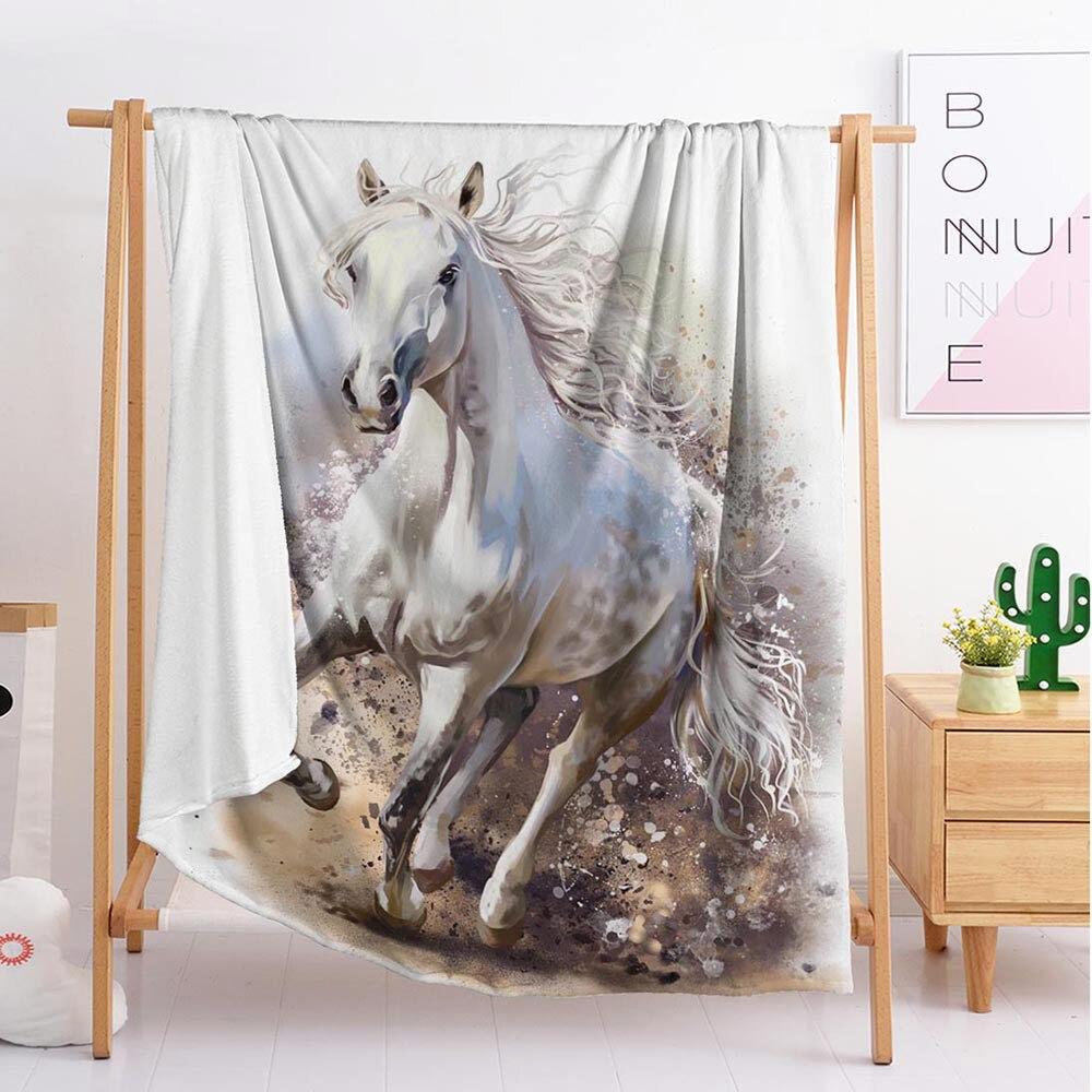 تشغيل الحصان الحيوان مخصص البطانيات كبيرة وصغيرة الحجم رمي بطانية نسيج النوم بطانية الفانيلا بطانية الفراش