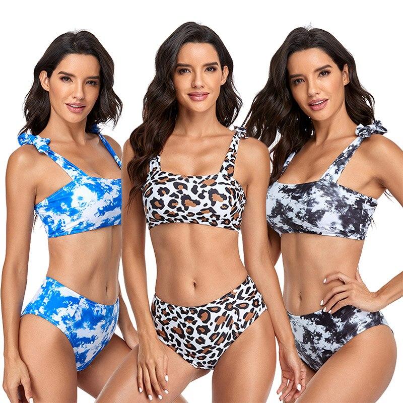 مثير رفع العصابة مجموعة البكيني التعادل مصبوغ عالية الخصر ملابس النساء Bowknot لباس سباحة الشاطئ ملابس السباحة الإناث