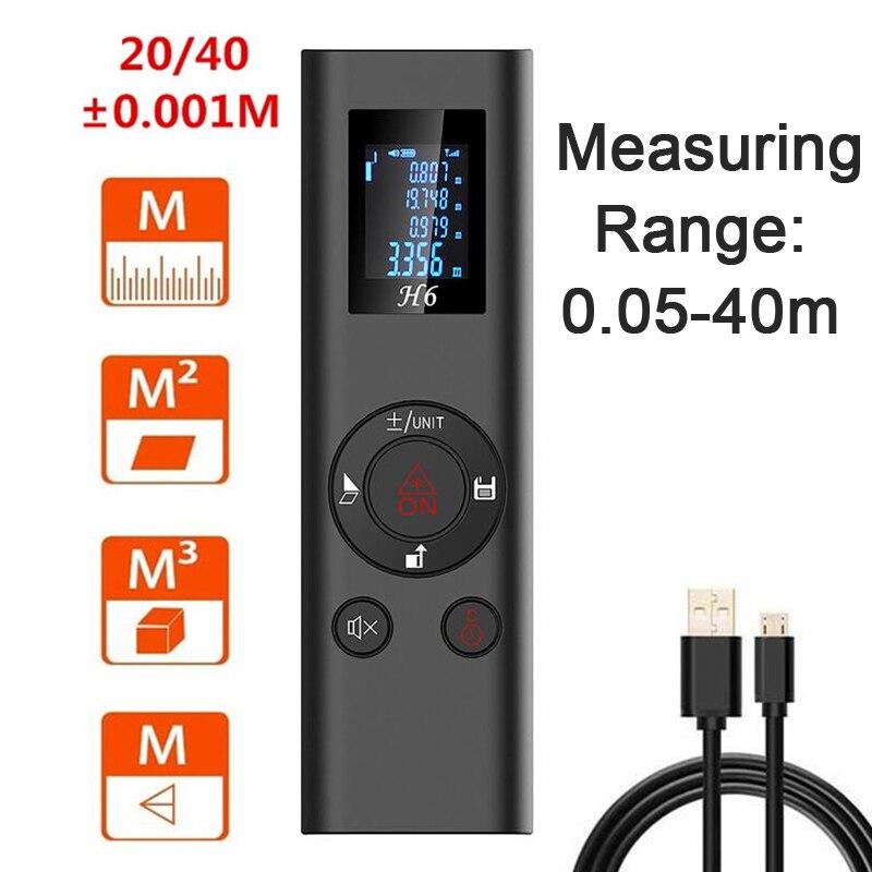 Medidor de Escala Carregamento de Alta Função de Armazenamento Handheld Inteligente Digital Laser Rangefinder Distância Medida Ferramenta Mini Usb Precisão 40m