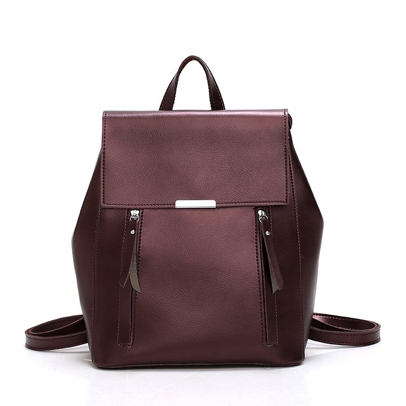 2020 retro women backpack school bags for teenager girls leather large Capacity mochila shoulder bag