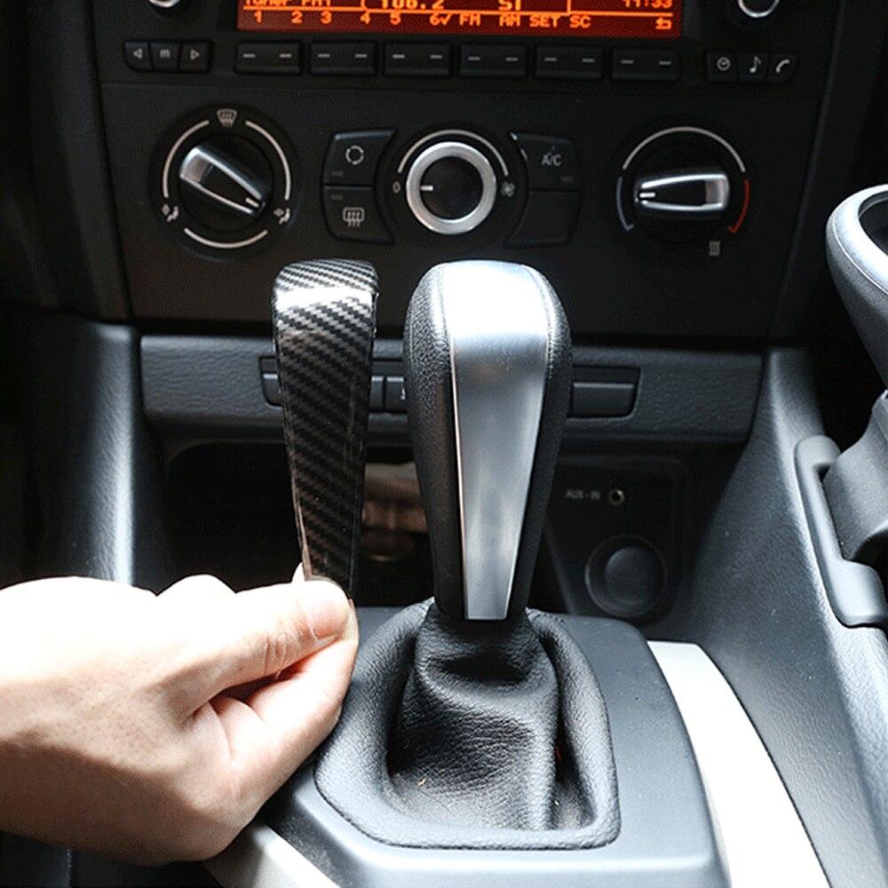 Real para BMW E90 E92 E93 E87 1 serie 3 de fibra de carbono perilla de cambio de marchas recorte cubierta accesorios de interior de coche