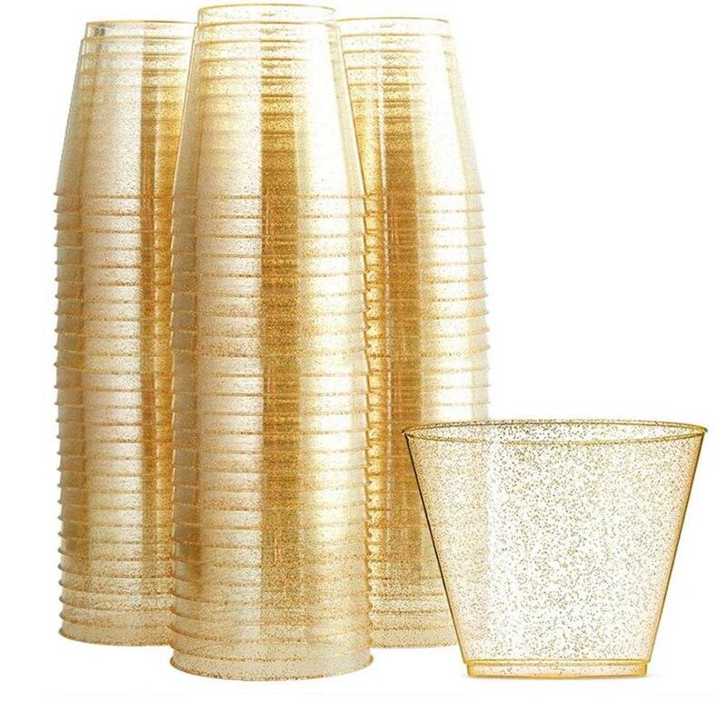 كوب ماء القابل للتصرف مسحوق ذهبي كأس النبيذ ويسكي كوب بلاستك أكواب عصير كوب للحلوى موس كأس شرب كوب 25