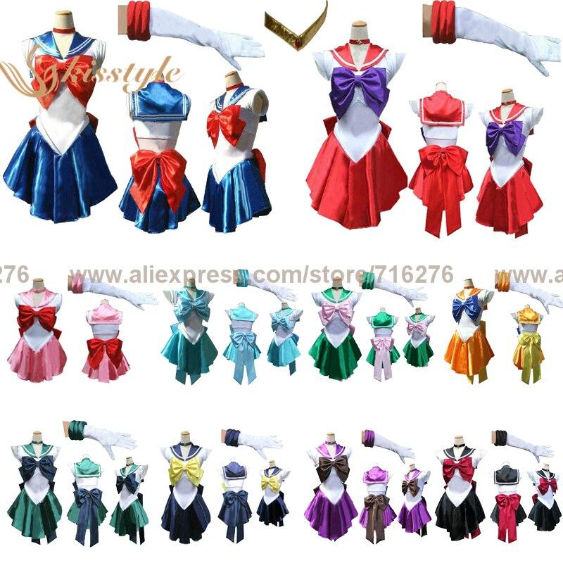 Bonito soldado Sailor Moon/ Venus/Júpiter/Mercury/Mars/Saturn/Uranus/Neptune/Pluto/Chibi mujer adultos/Bebé/niños disfraz Cosplay